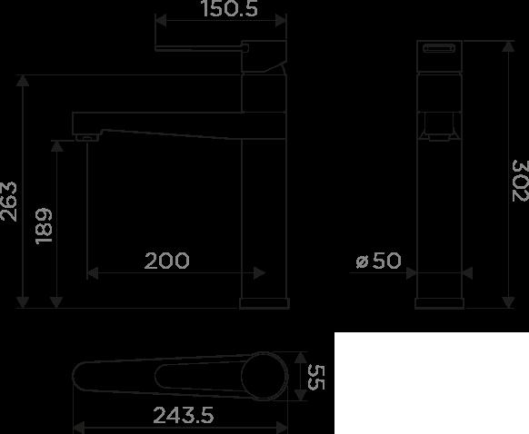 Размеры смесителя